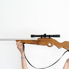 U - Wooden Toy Rifle with real scope - ROLSTON RIFLE