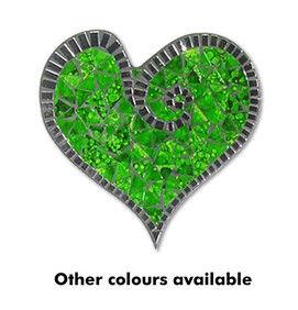 Abstract Mosaic Heart with Mirror Trim / Green