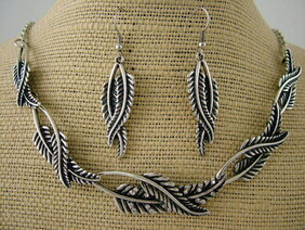 Necklace - Silver Fern Necklace and Earrings