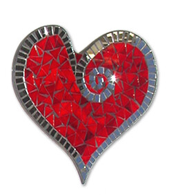 Abstract Mosaic Heart with Mirror Trim / Red