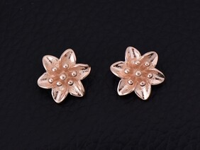 Sterling Silver - Rose Gold Lily Stud