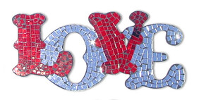 Mosaic LOVE Word Art / Red and Mirror