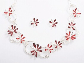 Red Flower Chain Necklace Set