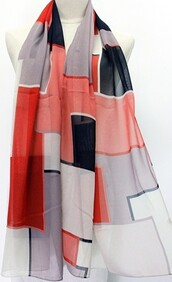 Scarf - Bold Block Abstract - Red