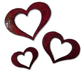 Mosaic Heart Outline / Red