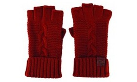 Cable Knit Wool Mix Gloves - Rust
