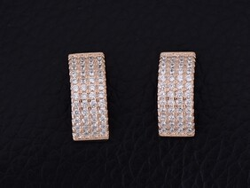 Sterling Silver - Rose Gold Rectangle Studs
