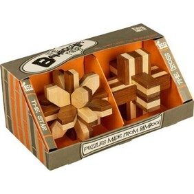 Set of 2 Bamboo Puzzle - Star and Cross