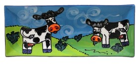 NZ Made Handpainted - Theme Tray 27cm x 11cm - Twin Cows