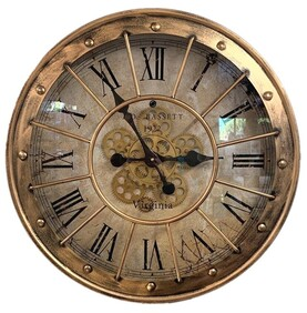 Clock - Distressed Copper Moving Gears