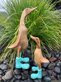 Wooden Duck in Turquoise Daisy Gumboots - Natural 25cm