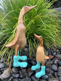 Wooden Duck in Turquoise Daisy Gumboots - Natural 40cm