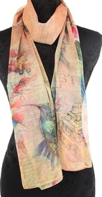 Peach with Humming Birds Scarf