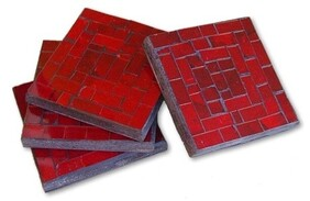 Mosaic Coasters (Set of 4) / Red