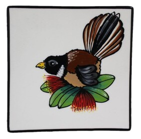 NZ Made Handpainted Square Plate / 20cm x 20cm / Double Pohutukawa Fantail