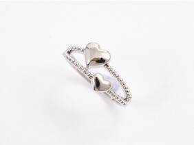 Ring - Silver Double Heart