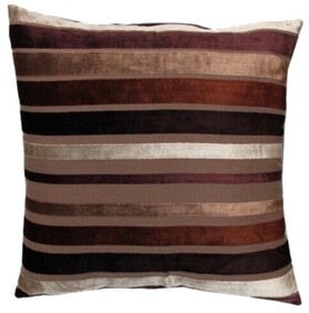 Cushion - Silver and Brown Striped