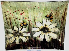 Glass Bumble Bee Plate 26cm x 21cm