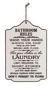 Wooden Sign - Bathroom Rules