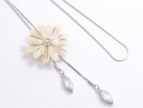 Necklace - Adjustable White Daisy