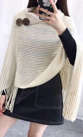 Cream Poncho - with buttons