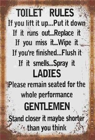 Tin Sign - Toilet Rules