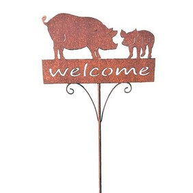Garden Stake - Rustic Welcome Pig