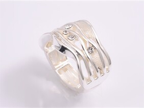 Ring - White & Silver Wave