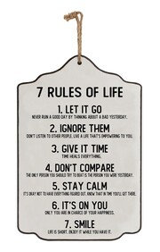 Wooden Sign - 7 Rules of Life