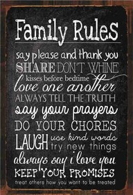 Tin Sign - Family Rules