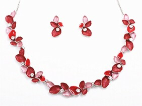Red Diamante Leaves Necklace Set