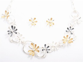 Silver & Grey Flower Chain Necklace Set