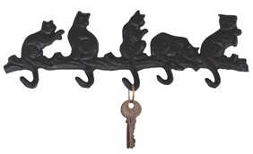 Cast Iron 5 Playing Cats Hook