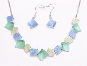 Necklace - Abstract Squares - Blue/Green