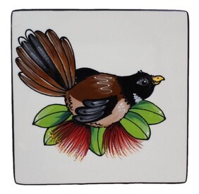 """NZ Made Handpainted Square Plate / 28cm x 28cm / Classic Fantail"""""""