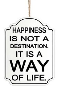Wooden Sign - Happiness