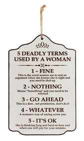 Wooden Sign - 5 Deadly Terms