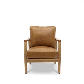 BUCKLE ARMCHAIR - TAN WITH NATURAL FRAME