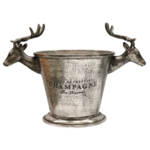 CHAMPAGNE BUCKET WITH DEER HEADS IN NICKEL ANTIQUE FINISH