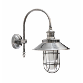 OUTDOOR BRUSHED PEWTER STYLE CAGE WALL LAMP WITH SHADE