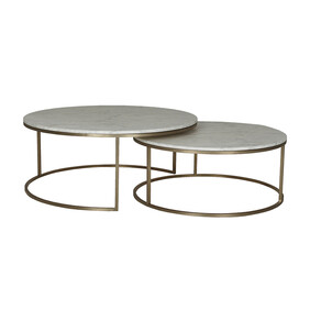 ELLE ROUND MARBLE NEST COFFEE TABLES - GOLD / WHITE