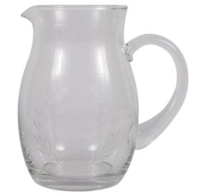 WREATH ETCHED GLASS PITCHER