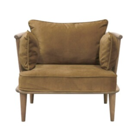 GALILEI TIMBER AND COPPER VELVET ARMCHAIR