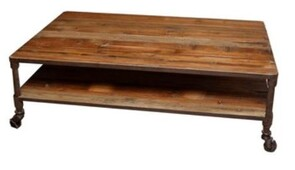 INDUSTRIAL COFFEE TABLE - RECLAIMED PINE AND STEEL