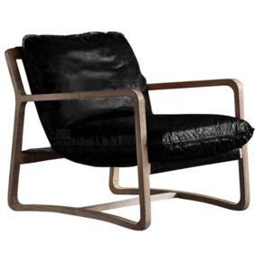 CAMERON LEATHER LOUNGE CHAIR - BLACK