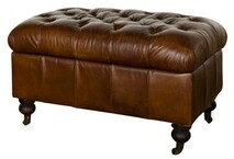 BUTTONED VINTAGE CIGAR OTTOMAN WITH STORAGE