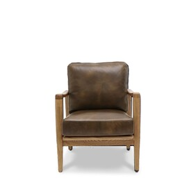BUCKLE ARMCHAIR - BROWN WITH NATURAL FRAME