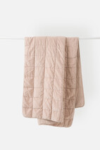 WASHED VELVET QUILTED THROW - CLAY