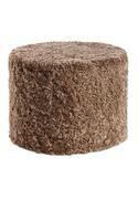 NEW ZEALAND SHORT CURLY WOOL ROUND POUF - Taupe