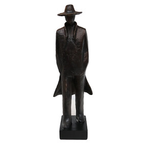 STANDING MAN WITH COAT STATUE
